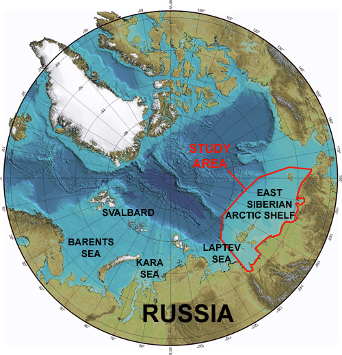 Arctic methane outgassing on the East Siberian Shelf
