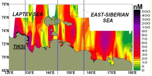 Observationaldata suggest >80%of the ESAS seafloor serves as asource of methaneto the watercolumn (Shakhova etal., 2010).