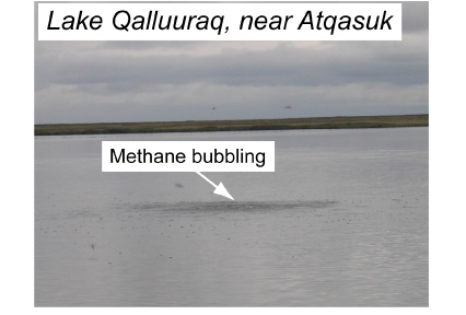 A methane seep in shallow Lake Qalluuraq on the Alaskan North Slope near the Native Village of Atqasuk breaks the water's surface during 2009 geophysical surveys
