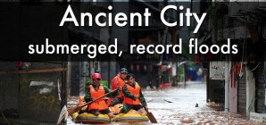 Record floods, submerged Fenghuang ancient town, Hunan province – July 2014