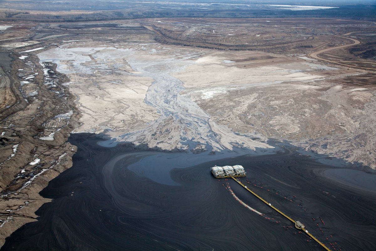 Overview of tailing pond at Suncor mining site.